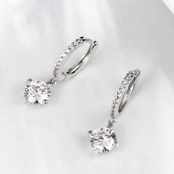White Gold Plated Dangling Cubic Zirconia CZ Leverback Earrings
