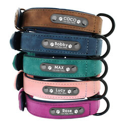 Personalized Dog Leather Collar Custom Engraved ID Name Tag for Pets Blue XS XL $10.99