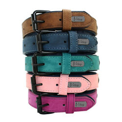 Pet Dog Leather Collar Soft for Small Medium Large Dogs Labrador Pink Blue S 2XL $12.99