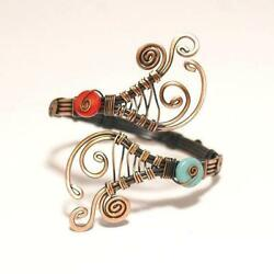 Handmade Turquoise and Red Copper Wire Wrap Bracelet