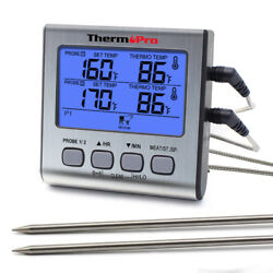 ThermoPro Dual Probe Digital Meat Cooking Thermometer Grill BBQ Food Time Smoker