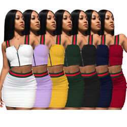 Women Bodycon Two Piece Crop Top amp; Skirt Set Cocktail Party Mini Patchwork Dress $13.99