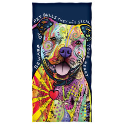 Dean Russo Beware of Pit Bulls They Will Steal Your Heart Cotton Beach Towel