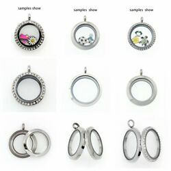DIY Living Memory Crystal Glass Round Locket Pendant Necklace For Floating Charm $1.95