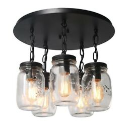 Mason Jar Ceiling 5 Lights Flush Mount Rustic Cabin Lodge Home Decor Gift New