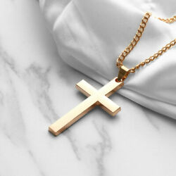 Stainless Steel Men Cross Pendant Chain Link Jewelry Gold Silver Black Necklace