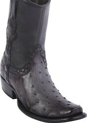 King Exotic GRAY Full Quill Ostrich Western Boot Side Zipper Mid Calf D $359.99