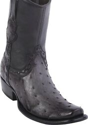 King Exotic GRAY Full Quill Ostrich Western Boot Side Zipper Mid Calf EE $359.99