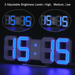 Blue LED Digital 3D Numbers Wall Alarm Clock Dimmer Snooze Timer USB Charge NEW $19.99
