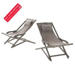 Set of 2 Wood and Canvas Sling Chair - Gray - Home Pool Outdoor Patio Beach