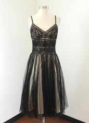 Sue Wong Black Nude Mesh Tulle Floral Sequin Cocktail Evening Formal Dress 6 $69.99