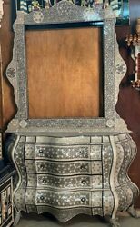 Antique Egyptian Wood Sideboard Inlaid Mother of Pearl with Wall Mirror Frame