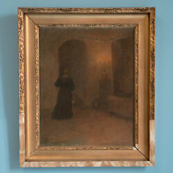Original Oil on Canvas Painting of Woman in Hallway