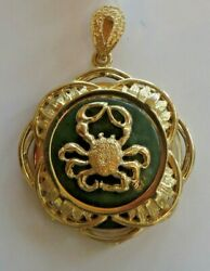 Cancer Zodiac Pendant in 14k Yellow Gold with Jade Base