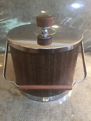 Vtg KROMEX Chrome WalnutTeak INSULATED ICE BUCKET PAIL Faux Wood Grain MADE USA