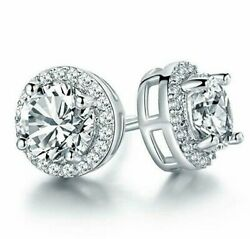 Princess  Halo Stud Earrings with Swarovski Crystals in 18K White Gold ITALY