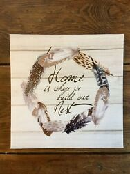 Rustic Chic Farmhouse Shiplap Sign Canvas Home Nest Feather Wreath Wall Art $14.00