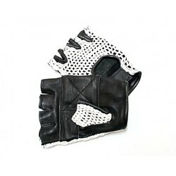 LEATHER FINGERLESS GLOVES WEIGHT TRAINING GYM DRIVING CYCLING WHEELCHAIR👀 $8.99