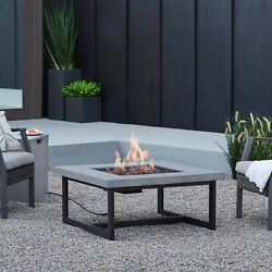 Outdoor Fire Pit Table Propane Gas Burning Concrete Backyard Patio Deck Heater