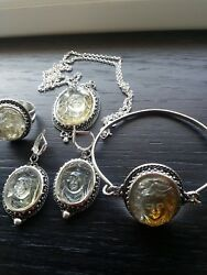 Byzantion Silver Jewelry Set Pendant Earrings Bracelet Ring citrine cameos