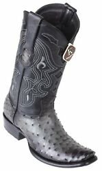 King Exotic GRAY Genuine Full Quill Ostrich Western Boot Dubai Square Toe EE $359.99
