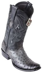 King Exotic GRAY Genuine Full Quill Ostrich Western Boot Dubai Square Toe D $359.99