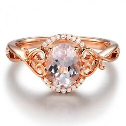 Elegant Rose Gold Plated Jewelry Oval Cut Champagne Women Proposal Ring Size6-10