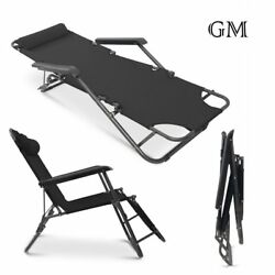 2X Folding Chaise Zero Gravity Lounge Beach Chairs Patio Outdoor Recliner Black