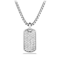 18K White Gold Plated Dog Tag Pendant Necklace with Cubic Zirconia Stone