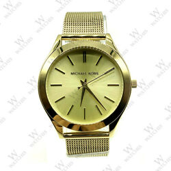 New Michael Kors MK3282 Gold Slim Mesh Runway Stainless Steel Women's Watch