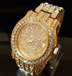 Men Hip Hop Gold Tone Techno Pave Bling Simulated Crystal Rapper Watch