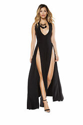 Roma Costume Maxi Length Dress with Front Slits Black RM 3396 $39.99