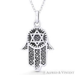 Hamsa Hand & Star of David Magen Oxidized .925 Sterling Silver Necklace Pendant