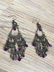 Chandelier Purple Jewelled Beaded Earrings GBP 19.99