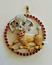 Diamond and Gemstone Poodle Pendant in 14k Yellow Gold