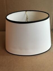 Clip On Lamp Shades Oval White With Black Trim 8quot; Tall 12quot; Wide Fabric New $19.99