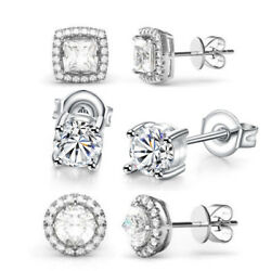 3 Pack Stud Earrings Made with Swarovski Crystal - 18K White Gold