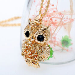 Crystal Pendant Necklace Owl Animal Long Sweater Chain Gold Womens Gift $7.76