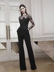 Elie Saab RunwayEditorial Embellished Black Lace Jumpsuit Resort 2015 Size 38FR