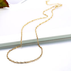 Classic 18K Yellow Gold Filled 1.5mm Singapore Twisted Chain Necklace
