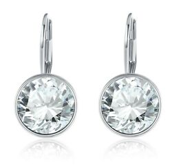 Round Bella with Swarovski Crystals Leverback Earring in 18K White Gold ITALY
