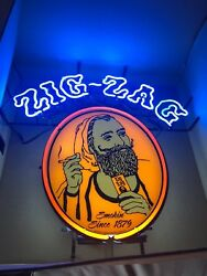 NEW Rare Limited Zig Zag Tobacco Cigar Neon Light Advertising (Man Cave) Sign