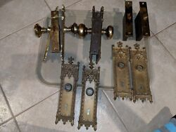 Antique Corbin Brass Gothic Style Doorknobs lock sets and door plates