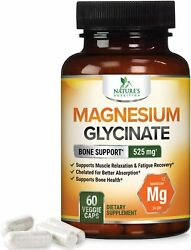 Magnesium Glycinate Capsules 525 mg 100% High Absorption Chelated $13.92