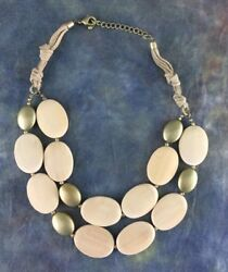 Gold Tone Light Wood Bead Layered Necklace with Leather Chain Womens Jewelry