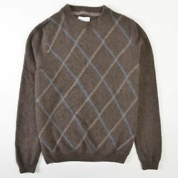 John W Nordstrom Cashmere Sweater Brown Argyle Blue Mens Small S