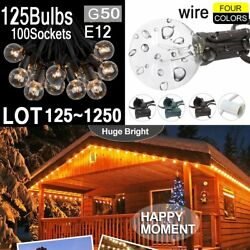 LOT 1250X  Clear Bulb 100FT G50 Outdoor Garden Globe Patio Party String Light GQ