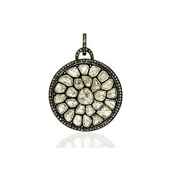 925 Sterling Silver 14Kt Gold 4.65Ct Rose Cut Diamond Round Disc Pendant Jewelry