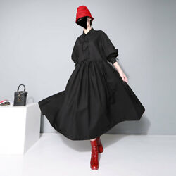 Japanese Style Ladies Maxi Dress Bow Strap Loose Long Sleeve Solid Black Dresses $45.90