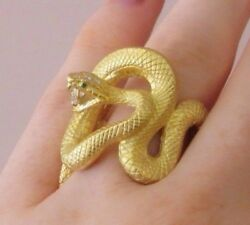 Wrap Snake Ring in 18k Textured Yellow Gold with DiamondsEmeralds--HM1912A7